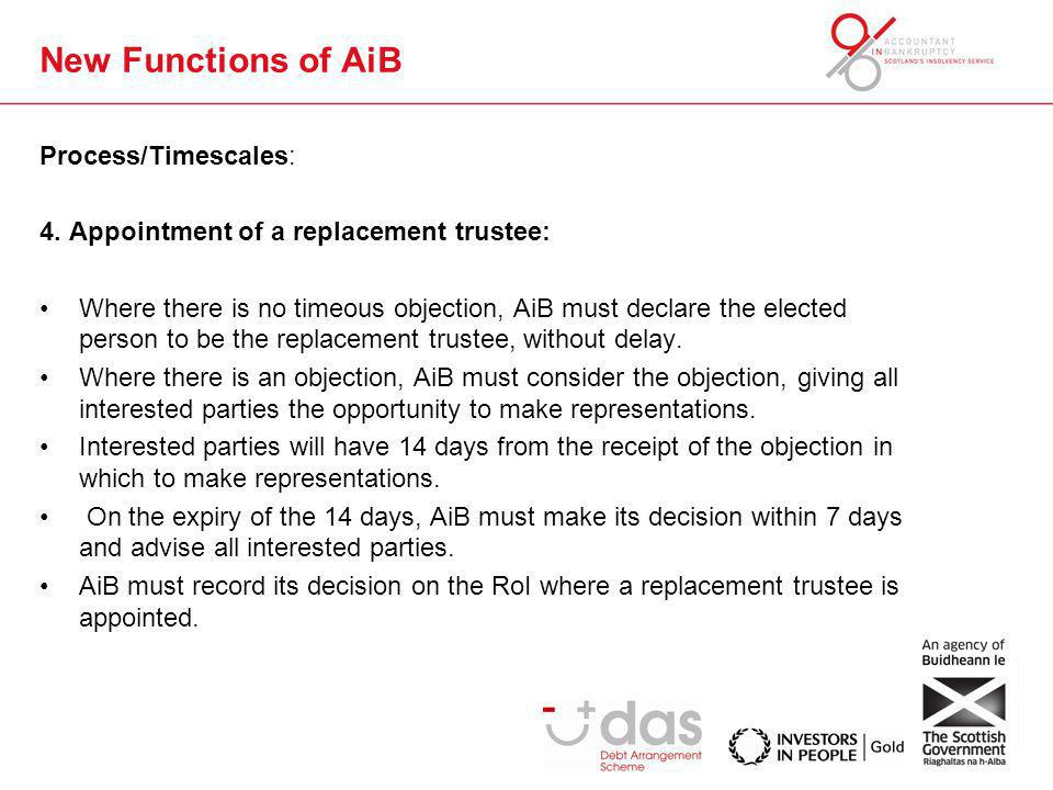 New Functions of AiB Process/Timescales: 4. Appointment of a replacement trustee: Where there is no timeous objection, AiB must declare the elected pe