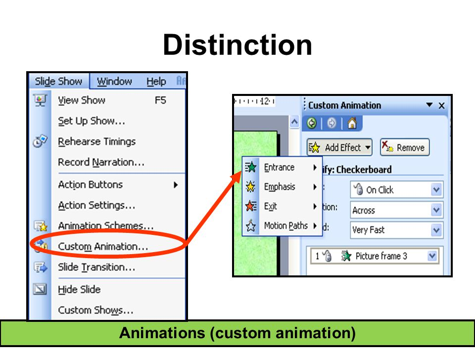 Distinction Animations (custom animation)