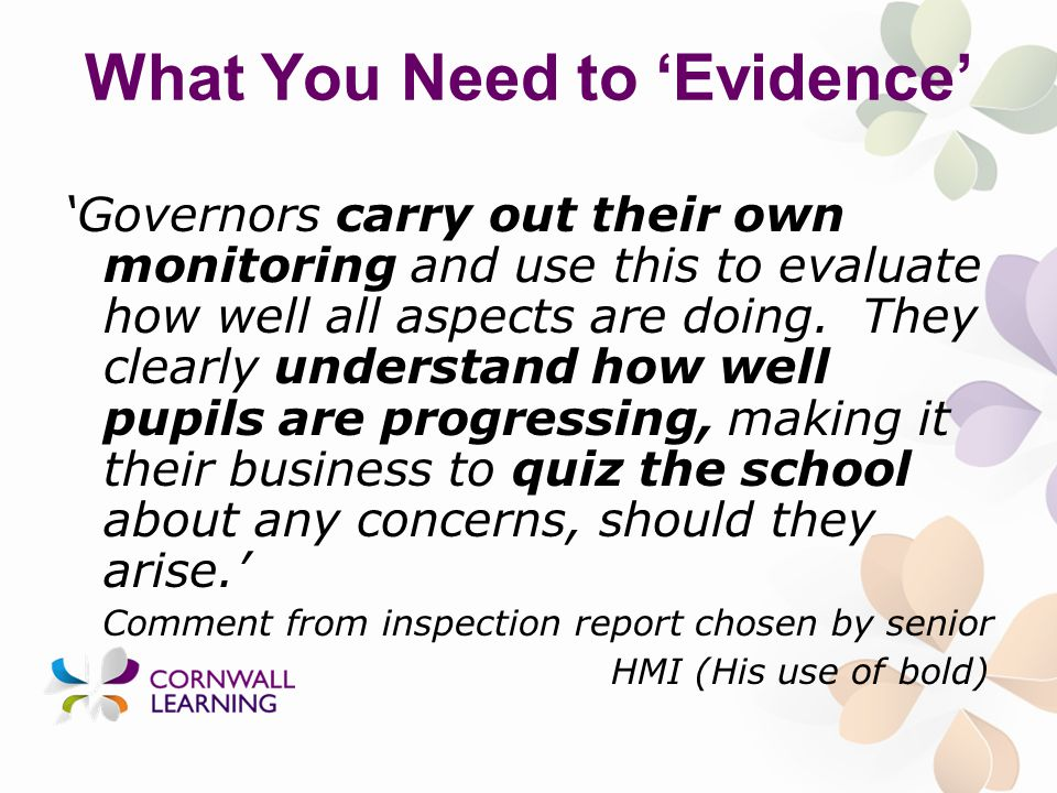 What You Need to 'Evidence' 'Governors carry out their own monitoring and use this to evaluate how well all aspects are doing.