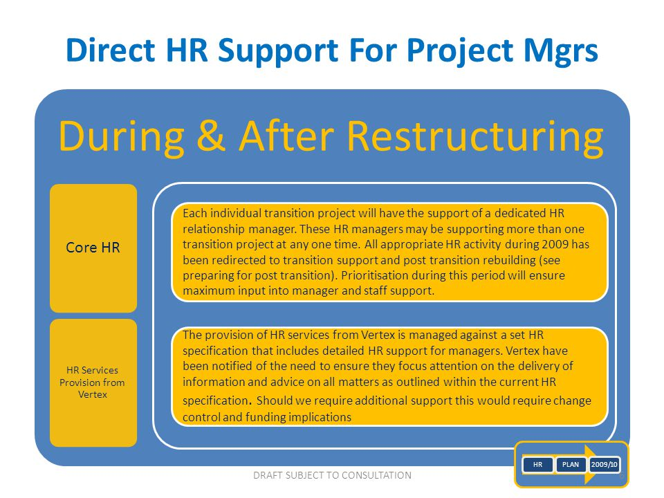DRAFT SUBJECT TO CONSULTATION Direct HR Support For Project Mgrs During & After Restructuring Core HR HR Services Provision from Vertex Each individua