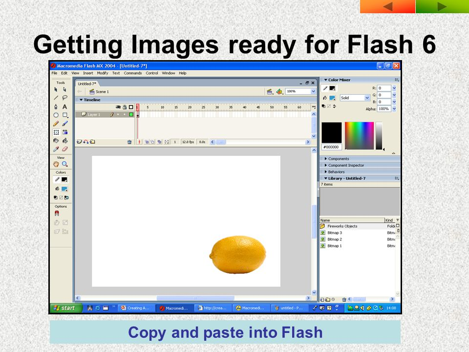 Getting Images ready for Flash 6 Copy and paste into Flash