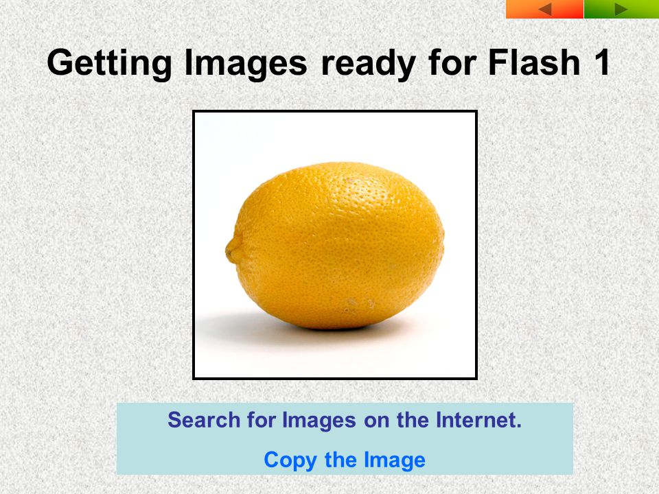 Getting Images ready for Flash 1 Search for Images on the Internet. Copy the Image