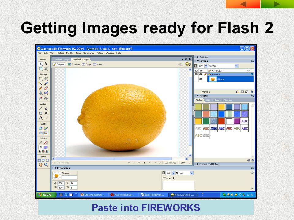 Getting Images ready for Flash 2 Paste into FIREWORKS