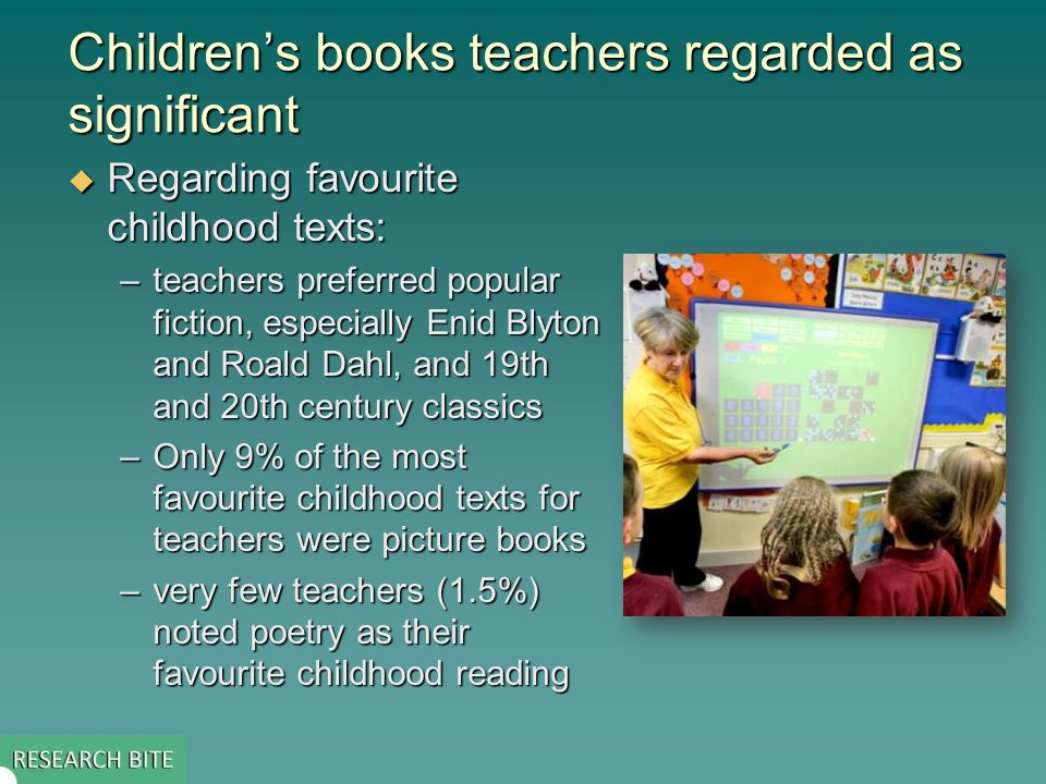Children's books teachers regarded as significant  Regarding favourite childhood texts: –teachers preferred popular fiction, especially Enid Blyton and Roald Dahl, and 19th and 20th century classics –Only 9% of the most favourite childhood texts for teachers were picture books –very few teachers (1.5%) noted poetry as their favourite childhood reading