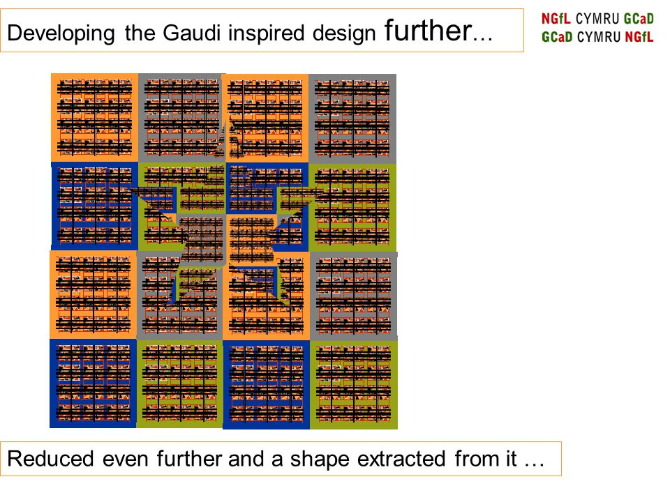 Developing the Gaudi inspired design further … Reduced even further and a shape extracted from it …
