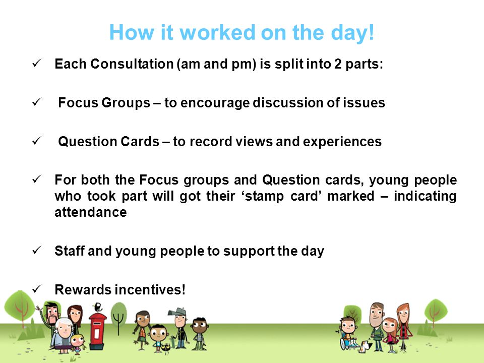 How it worked on the day! Each Consultation (am and pm) is split into 2 parts: Focus Groups – to encourage discussion of issues Question Cards – to re