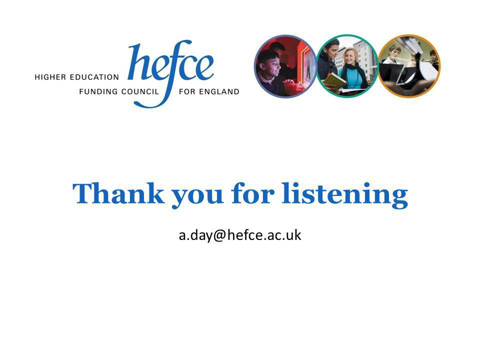 Thank you for listening a.day@hefce.ac.uk