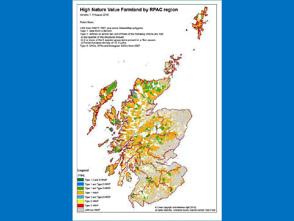 Common grazings as an environment asset EFNCP estimate that common grazings make up 15-20% of HNV farmland in Scotland Semi-natural vegetation and low stocking densities underpin the nature value Lack of research on environmental value of common grazings needs addressing RSPB analysis of livestock declines and birds highlights concerns