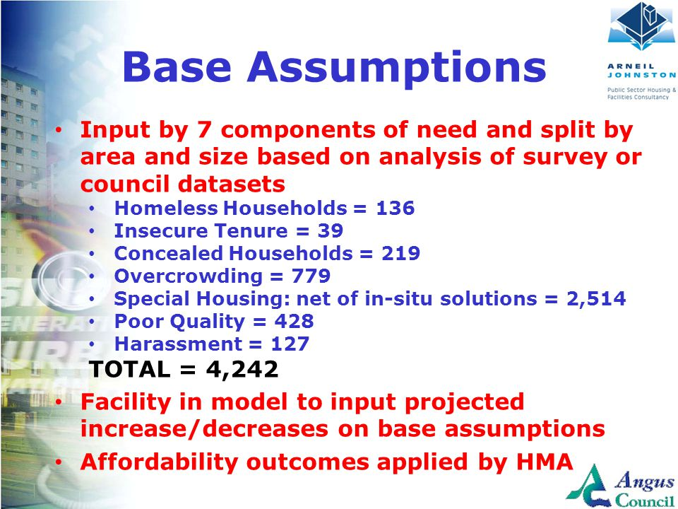 Client Logo Here Base Assumptions Input by 7 components of need and split by area and size based on analysis of survey or council datasets Homeless Ho