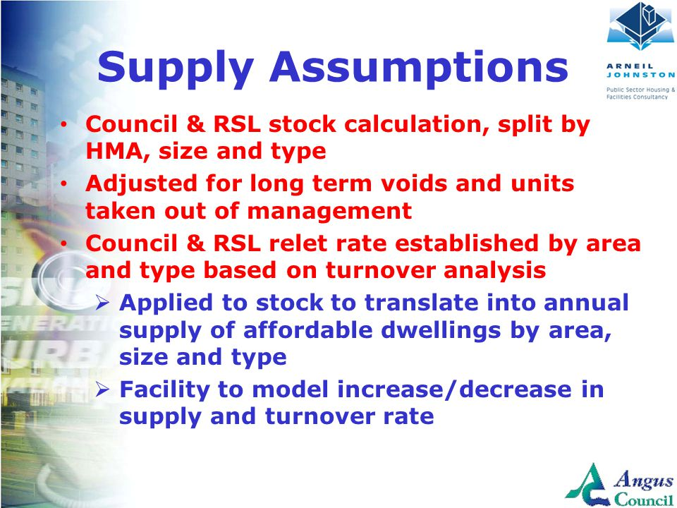Client Logo Here Supply Assumptions Council & RSL stock calculation, split by HMA, size and type Adjusted for long term voids and units taken out of m