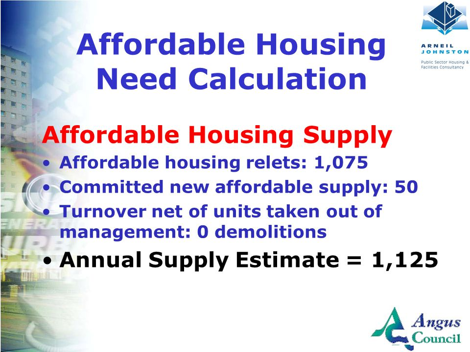 Client Logo Here Affordable Housing Supply Affordable housing relets: 1,075 Committed new affordable supply: 50 Turnover net of units taken out of management: 0 demolitions Annual Supply Estimate = 1,125 Affordable Housing Need Calculation