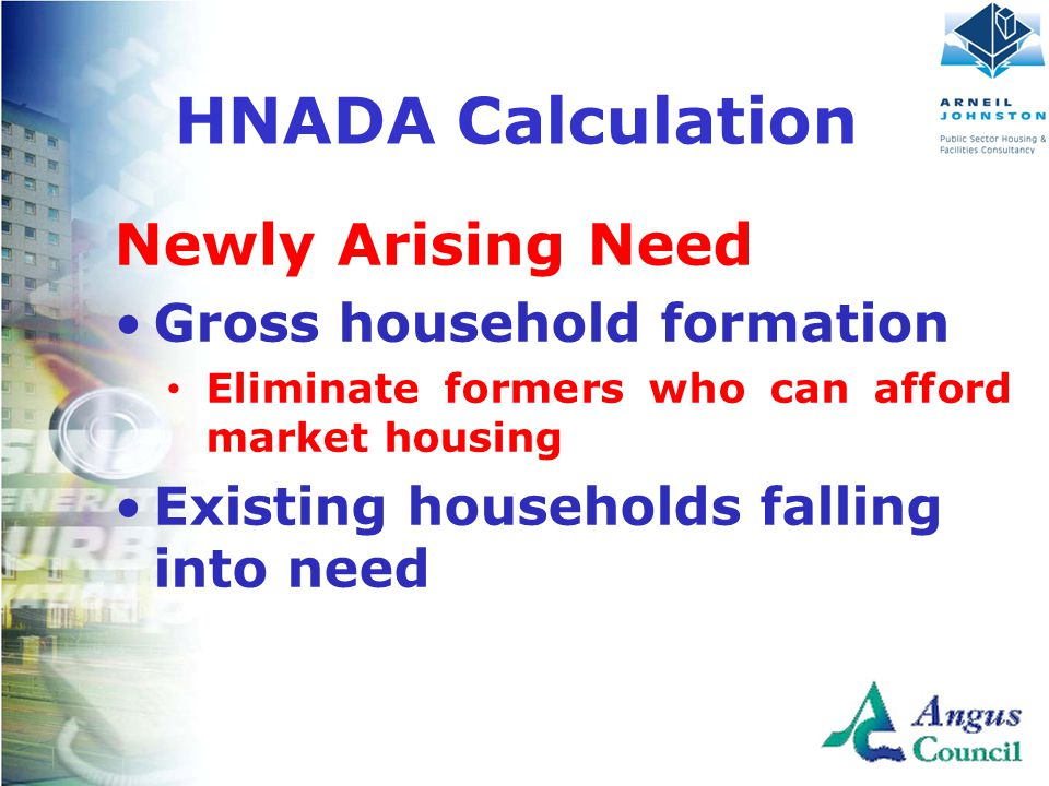 Newly Arising Need Gross household formation Eliminate formers who can afford market housing Existing households falling into need HNADA Calculation