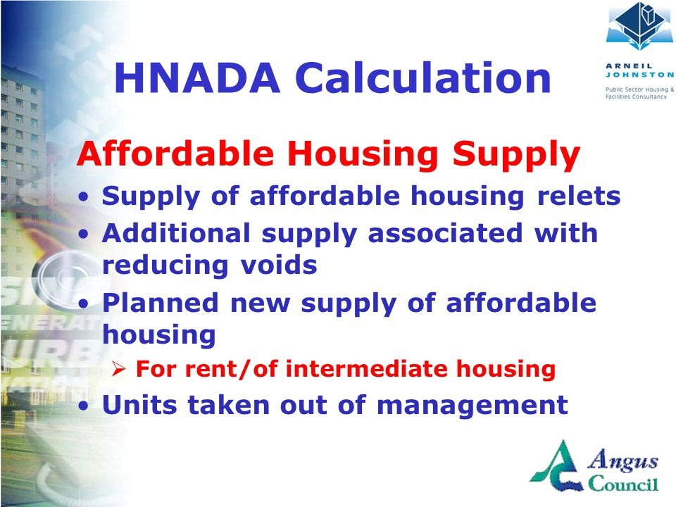 Affordable Housing Supply Supply of affordable housing relets Additional supply associated with reducing voids Planned new supply of affordable housing  For rent/of intermediate housing Units taken out of management HNADA Calculation