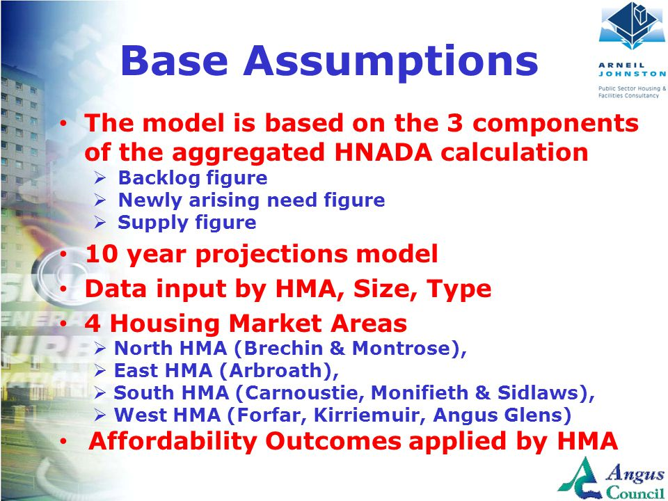 Client Logo Here Base Assumptions The model is based on the 3 components of the aggregated HNADA calculation  Backlog figure  Newly arising need figure  Supply figure 10 year projections model Data input by HMA, Size, Type 4 Housing Market Areas  North HMA (Brechin & Montrose),  East HMA (Arbroath),  South HMA (Carnoustie, Monifieth & Sidlaws),  West HMA (Forfar, Kirriemuir, Angus Glens) Affordability Outcomes applied by HMA