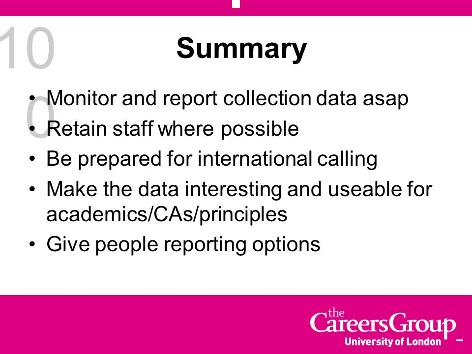 10 0 Summary Monitor and report collection data asap Retain staff where possible Be prepared for international calling Make the data interesting and u