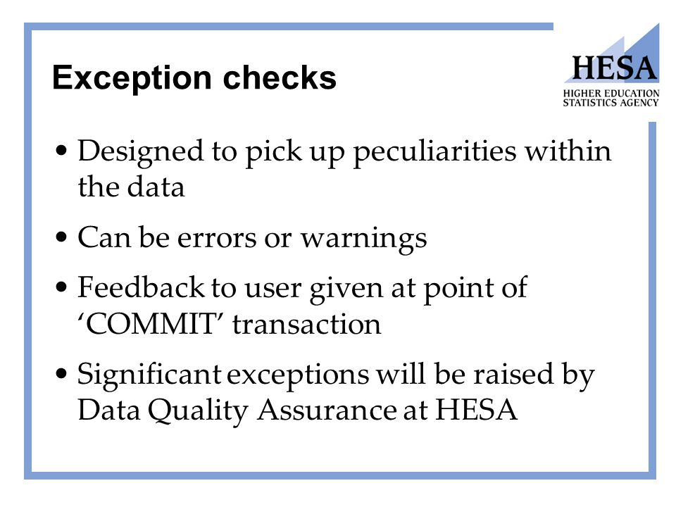 Exception checks Designed to pick up peculiarities within the data Can be errors or warnings Feedback to user given at point of 'COMMIT' transaction S