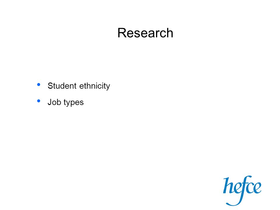 Research Student ethnicity Job types