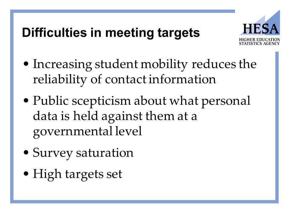 Difficulties in meeting targets Increasing student mobility reduces the reliability of contact information Public scepticism about what personal data