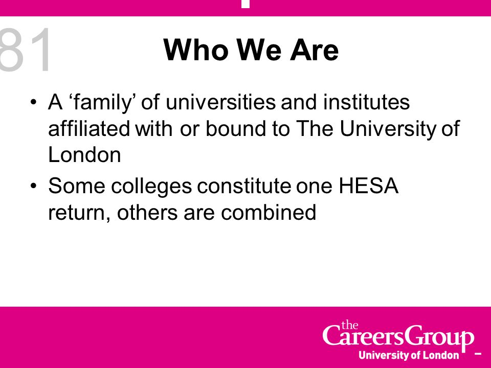 81 Who We Are A 'family' of universities and institutes affiliated with or bound to The University of London Some colleges constitute one HESA return,