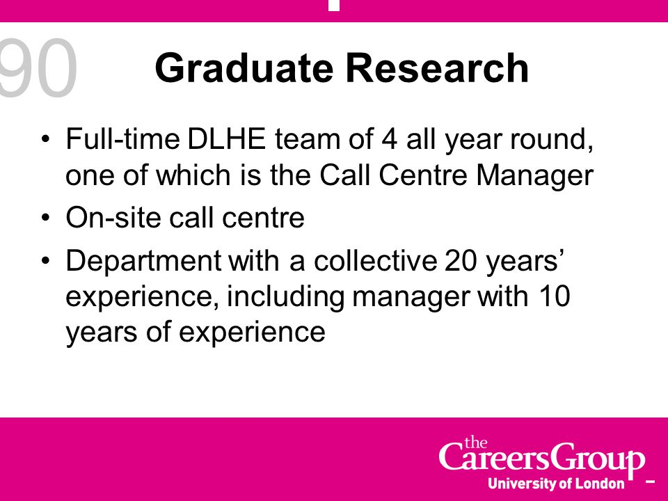 90 Graduate Research Full-time DLHE team of 4 all year round, one of which is the Call Centre Manager On-site call centre Department with a collective