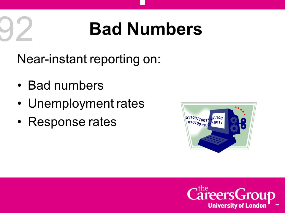 92 Bad Numbers Near-instant reporting on: Bad numbers Unemployment rates Response rates