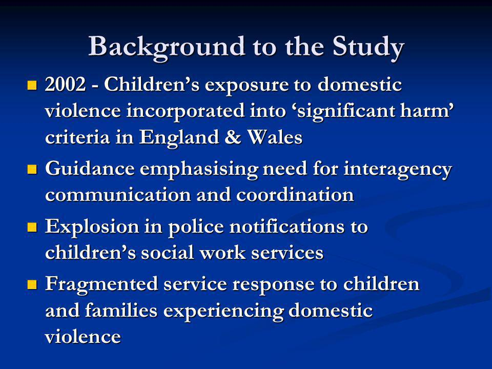 About the Research 2007-09  Stage 1: Capturing children's, survivors' and perpetrators' views  Stage 2: Tracking professional practice in 2 sites – police and children's services  251 Notifications tracked  Interviews with 56 practitioners  Stage 3: Postal survey of LSCBs