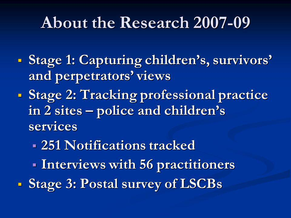 About the Research 2007-09  Stage 1: Capturing children's, survivors' and perpetrators' views  Stage 2: Tracking professional practice in 2 sites – police and children's services  251 Notifications tracked  Interviews with 56 practitioners  Stage 3: Postal survey of LSCBs