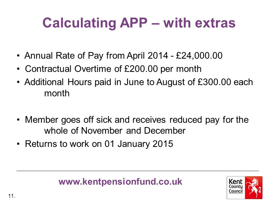 www.kentpensionfund.co.uk Calculating APP – with extras Annual Rate of Pay from April 2014 - £24,000.00 Contractual Overtime of £200.00 per month Additional Hours paid in June to August of £300.00 each month Member goes off sick and receives reduced pay for the whole of November and December Returns to work on 01 January 2015 11.