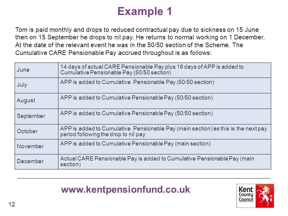 www.kentpensionfund.co.uk Example 1 Tom is paid monthly and drops to reduced contractual pay due to sickness on 15 June then on 15 September he drops to nil pay.