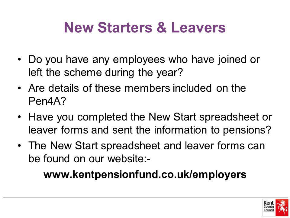 New Starters & Leavers Do you have any employees who have joined or left the scheme during the year.