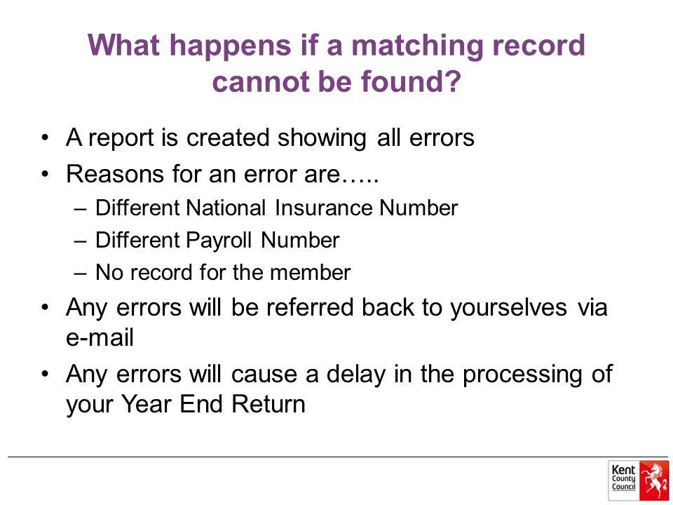 What happens if a matching record cannot be found.