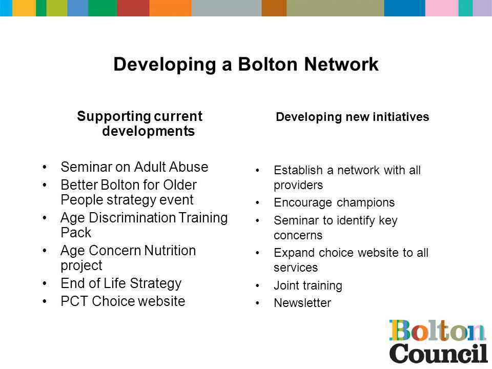 Developing a Bolton Network Supporting current developments Seminar on Adult Abuse Better Bolton for Older People strategy event Age Discrimination Tr