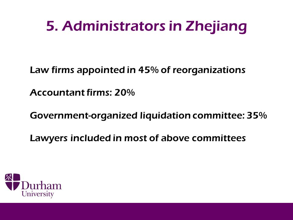 5. Administrators in Zhejiang Law firms appointed in 45% of reorganizations Accountant firms: 20% Government-organized liquidation committee: 35% Lawy