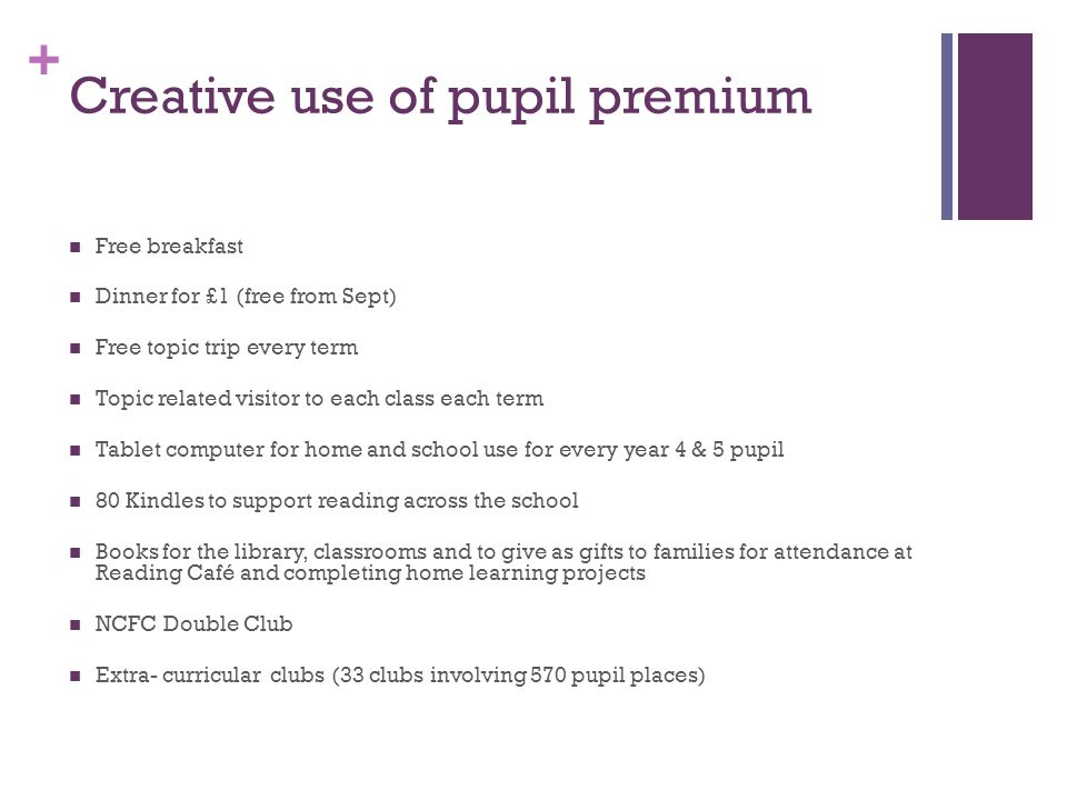 + Creative use of pupil premium Free breakfast Dinner for £1 (free from Sept) Free topic trip every term Topic related visitor to each class each term Tablet computer for home and school use for every year 4 & 5 pupil 80 Kindles to support reading across the school Books for the library, classrooms and to give as gifts to families for attendance at Reading Café and completing home learning projects NCFC Double Club Extra- curricular clubs (33 clubs involving 570 pupil places)