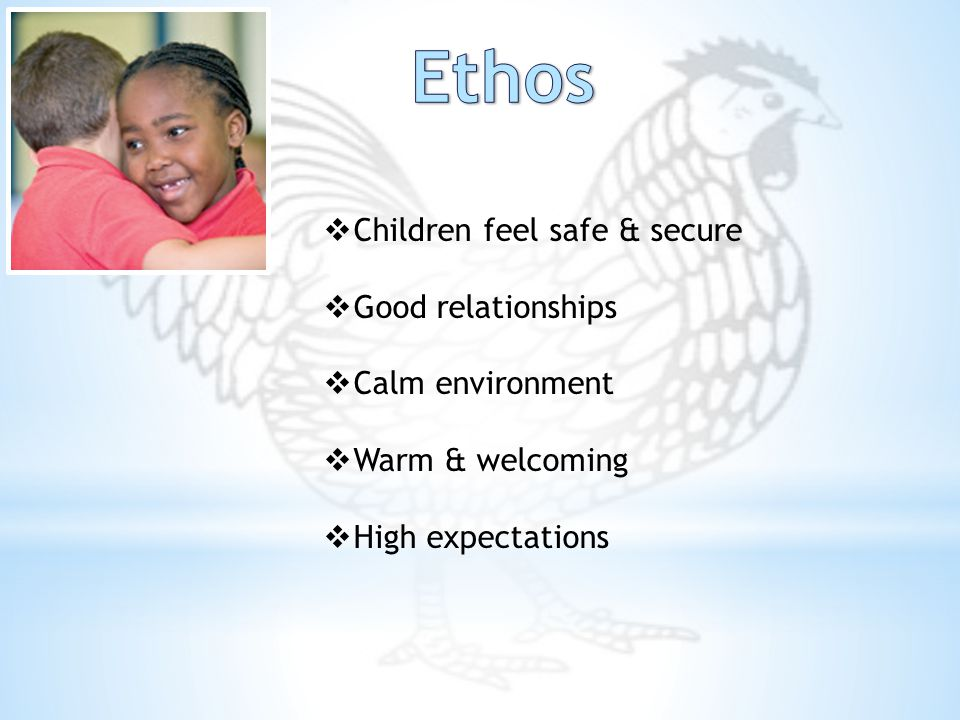 Children feel safe & secure  Good relationships  Calm environment  Warm & welcoming  High expectations