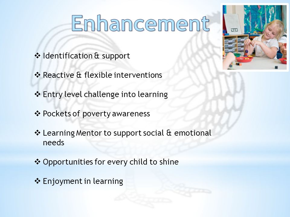 Identification & support  Reactive & flexible interventions  Entry level challenge into learning  Pockets of poverty awareness  Learning Mentor to support social & emotional needs  Opportunities for every child to shine  Enjoyment in learning