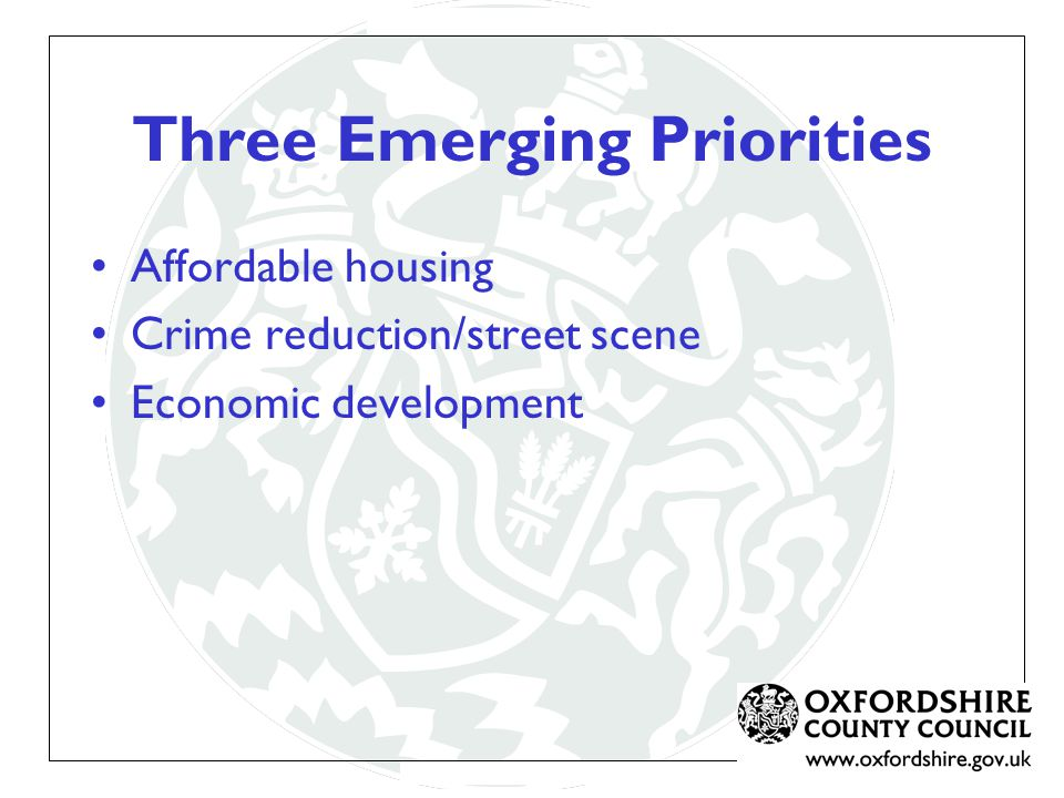 Three Emerging Priorities Affordable housing Crime reduction/street scene Economic development