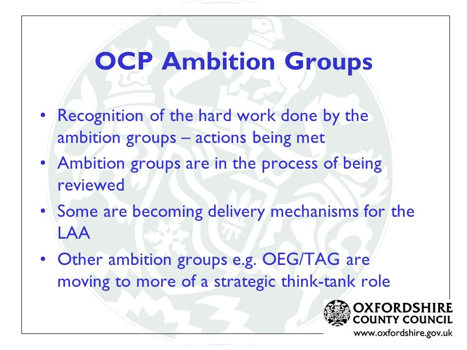 Recognition of the hard work done by the ambition groups – actions being met Ambition groups are in the process of being reviewed Some are becoming delivery mechanisms for the LAA Other ambition groups e.g.