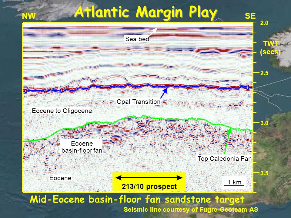 3.5 NWSE 2.0 TWT (secs) 2.5 3.0 Sea bed Opal Transition Eocene to Oligocene Eocene basin-floor fan Top Caledonia Fan Eocene 213/10 prospect 1 km Mid-Eocene basin-floor fan sandstone target Seismic line courtesy of Fugro-Geoteam AS