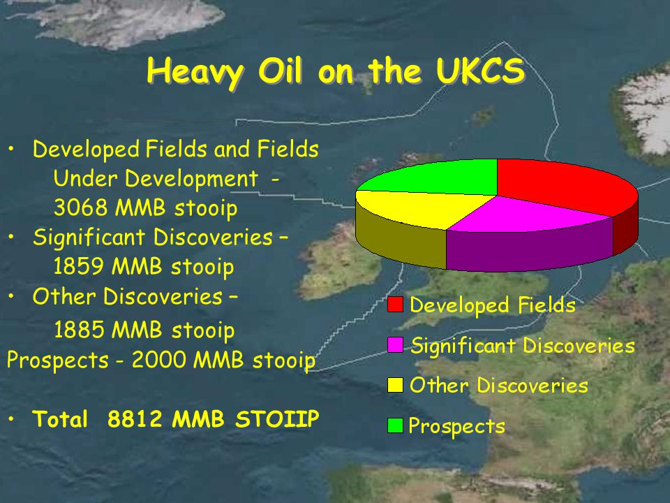 Heavy Oil on the UKCS Developed Fields and Fields Under Development - 3068 MMB stooip Significant Discoveries – 1859 MMB stooip Other Discoveries – 1885 MMB stooip Prospects - 2000 MMB stooip Total 8812 MMB STOIIP