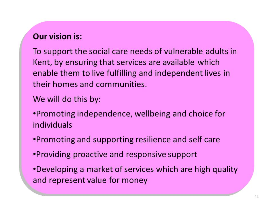 14 Our vision is: To support the social care needs of vulnerable adults in Kent, by ensuring that services are available which enable them to live ful