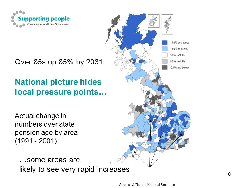 10 Over 85s up 85% by 2031 National picture hides local pressure points… Actual change in numbers over state pension age by area (1991 - 2001) Source: Office for National Statistics …some areas are likely to see very rapid increases