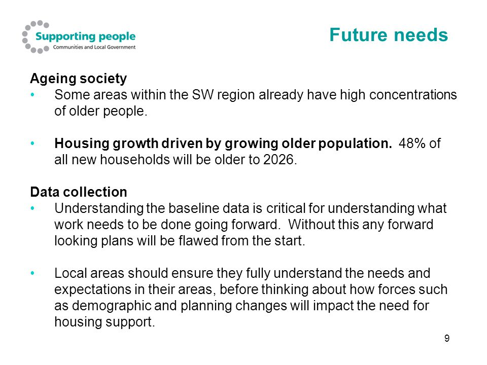 9 Future needs Ageing society Some areas within the SW region already have high concentrations of older people.