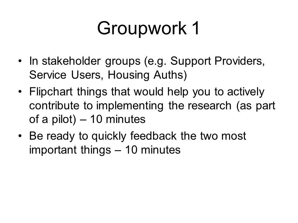Groupwork 1 In stakeholder groups (e.g.
