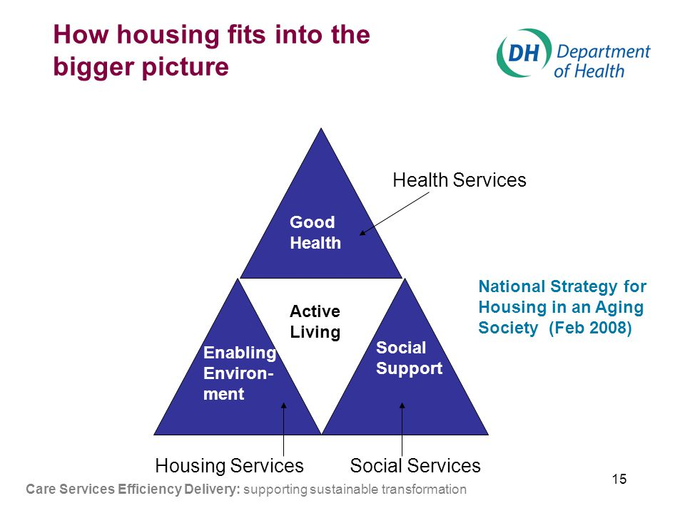 15 Good Health Active Living Social Support Enabling Environ- ment How housing fits into the bigger picture Housing ServicesSocial Services Health Services Care Services Efficiency Delivery: supporting sustainable transformation National Strategy for Housing in an Aging Society (Feb 2008)
