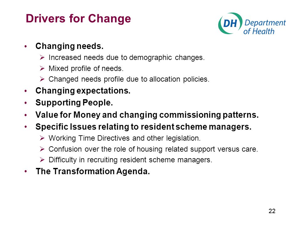 22 Drivers for Change Changing needs.  Increased needs due to demographic changes.  Mixed profile of needs.  Changed needs profile due to allocatio