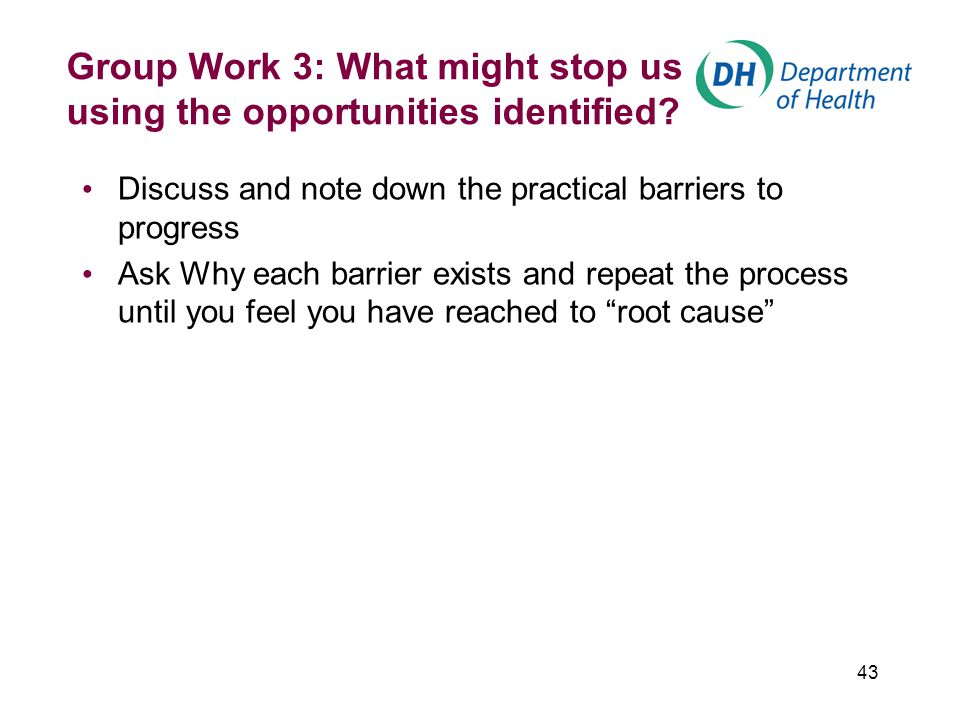 43 Group Work 3: What might stop us using the opportunities identified.
