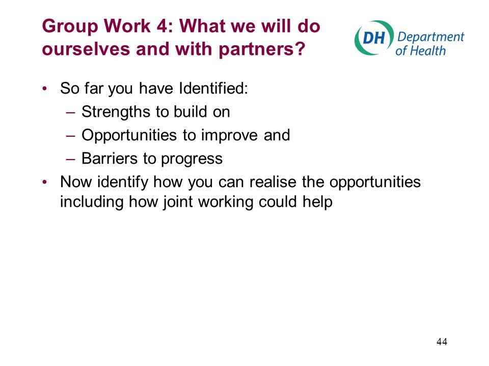 44 Group Work 4: What we will do ourselves and with partners? So far you have Identified: –Strengths to build on –Opportunities to improve and –Barrie