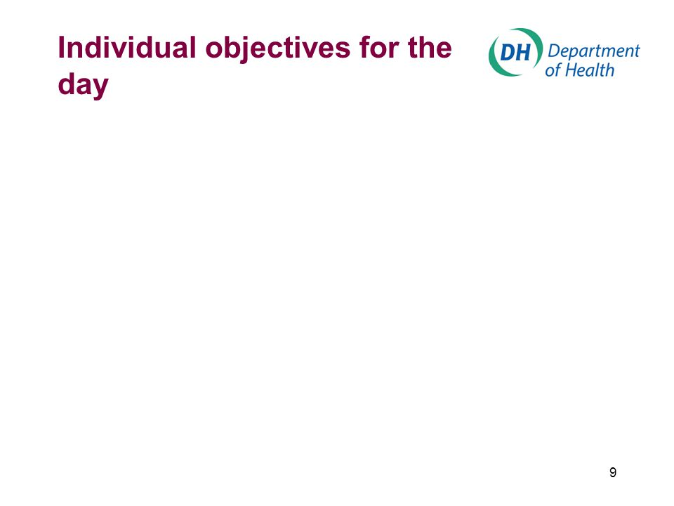 9 Individual objectives for the day