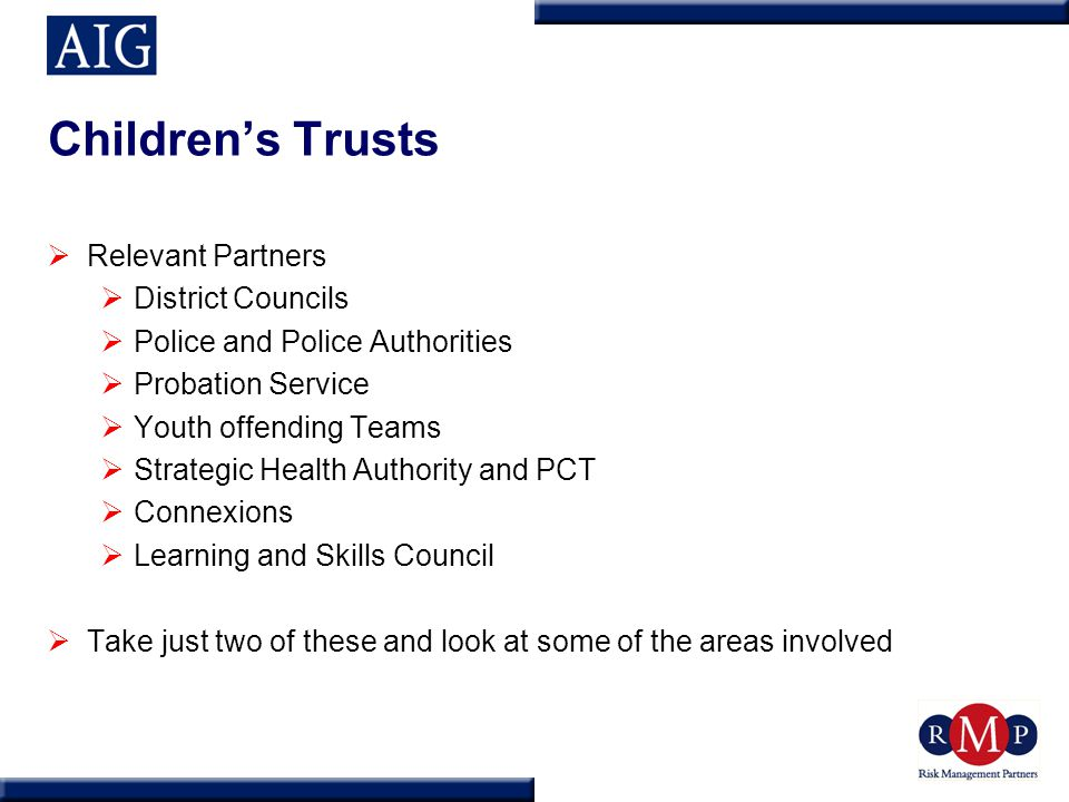 Children's Trusts  Relevant Partners  District Councils  Police and Police Authorities  Probation Service  Youth offending Teams  Strategic Heal